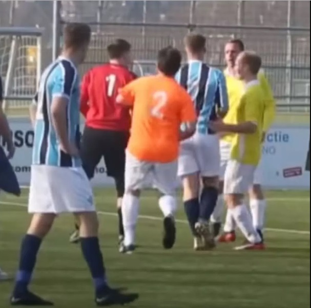 Linesman Arrested After Knocking Goalkeeper Unconcious During Football Match (Photos)