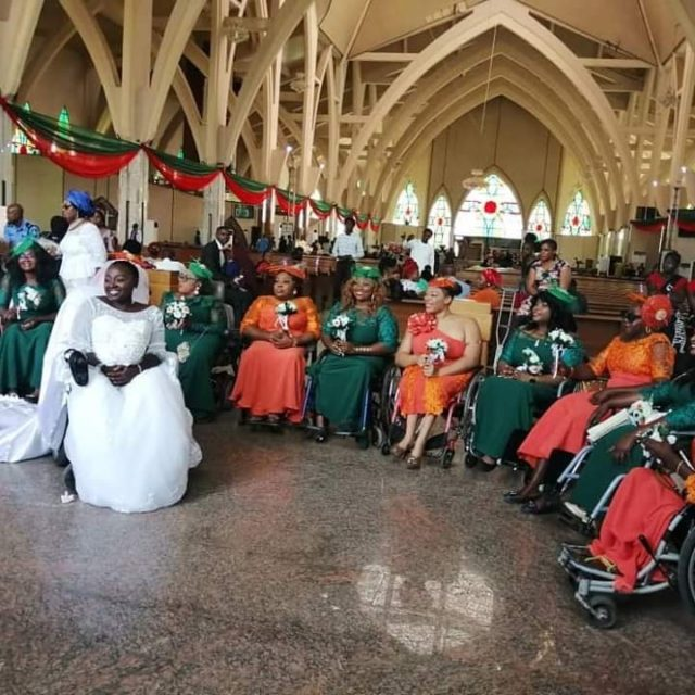 Lady on wheelchair weds