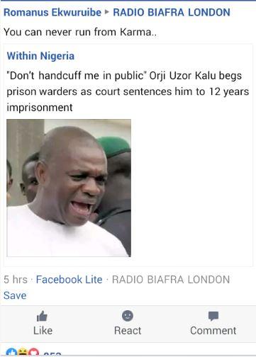 Radio Biafra London, Orji Uzor Kalu Mocked By Radio Biafra London Group Members