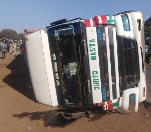 container truck crashes