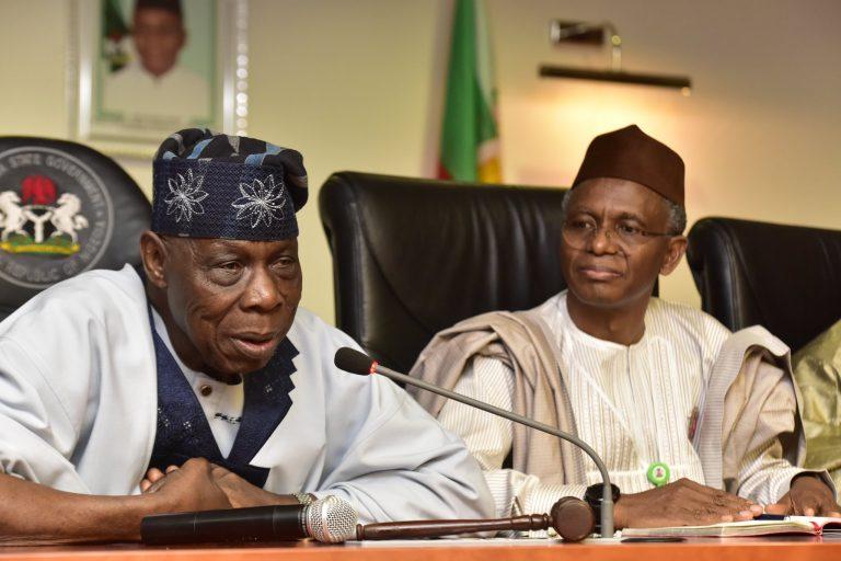 Olusegun Obasanjo and Nasir el-Rufai, governor of Kaduna