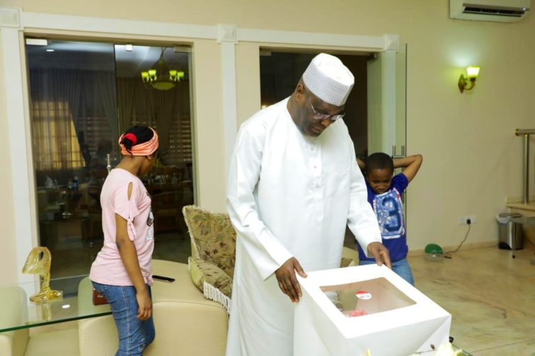 Atiku Abubakar receives birthday gift from his grandchildren