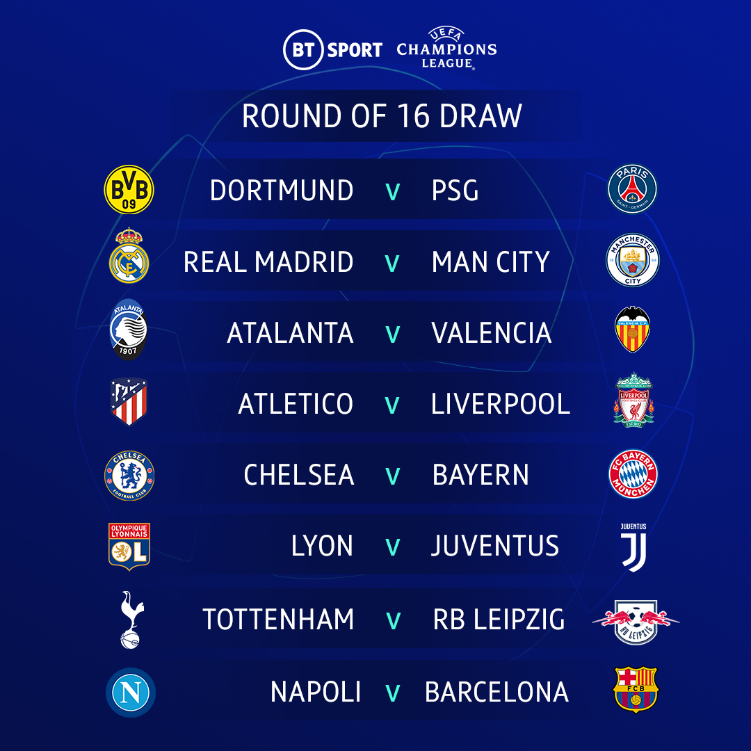 UCL round of 16 draw
