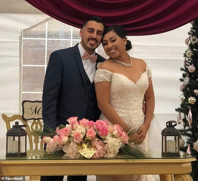 Joe Melgoza, 30, is pictured with his new wife