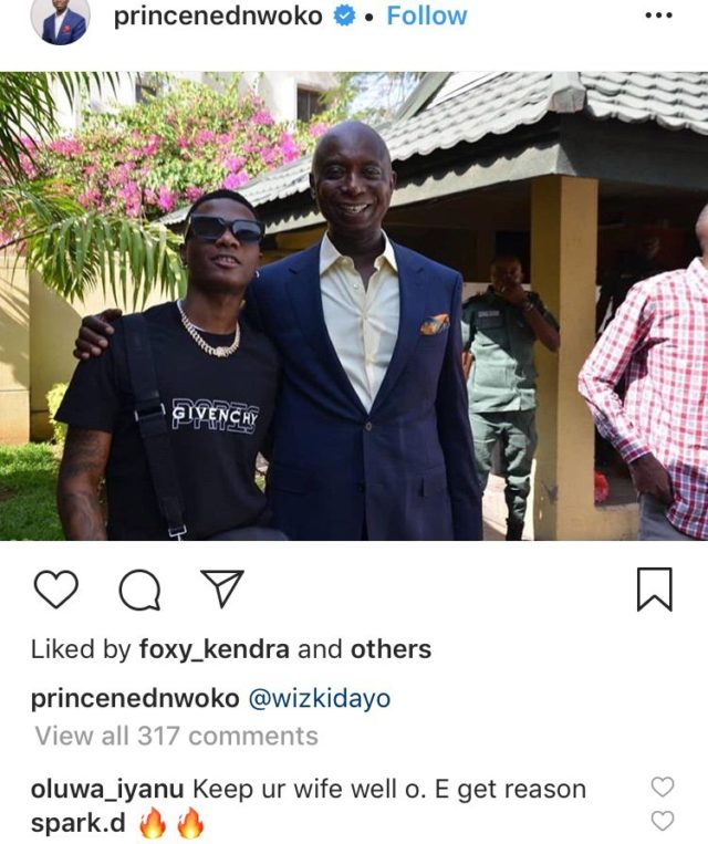 Ned Nwoke posing with musician, Wizkid and another man