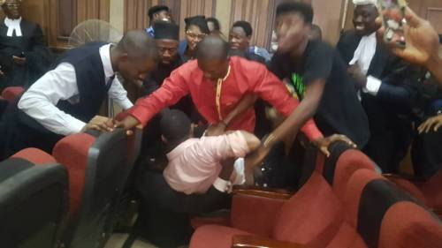 Omoyele Sowore being dragged in court