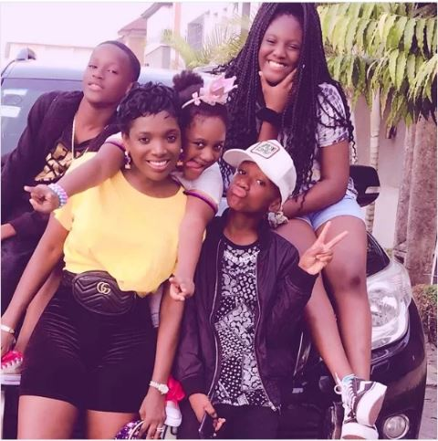 Annie Idibia poses with her kids