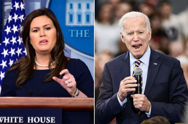 Sarah Huckabee Sanders and Joe Biden