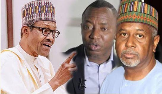 President Buhari, Omoyele Sowore and Sambo Dasuki