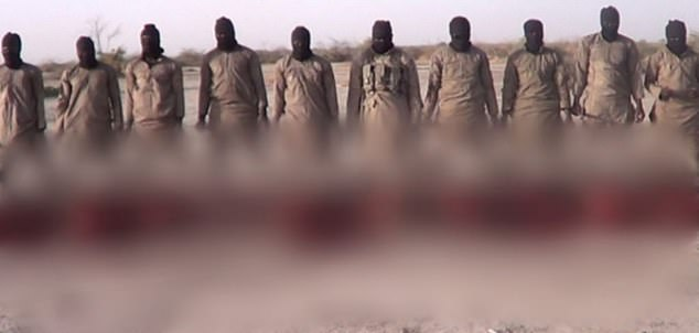 A still photo from the video where 11 Christians were killed by ISWAP terrorists