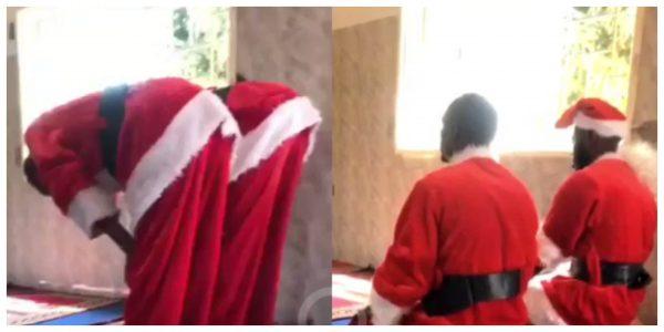 The Muslim men dressed in Santa costume praying inside mosque