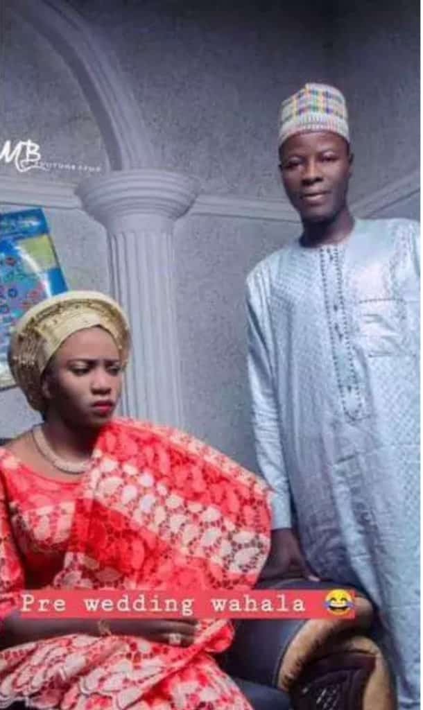 Bride looking angry in pre-wedding photos