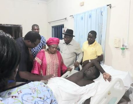Jonathan visits soldier injured during gunmen's attack on his residence