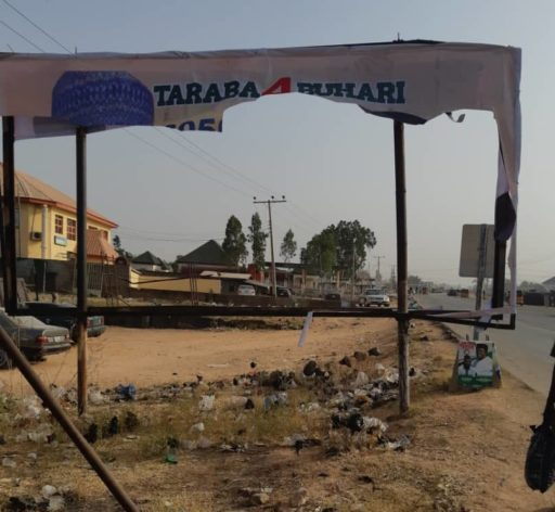 One of the destroyed posters of Buhari in Taraba