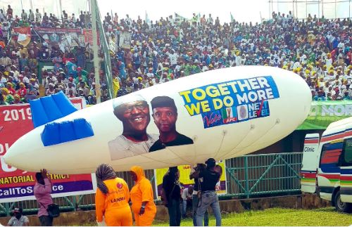 President Muhammadu Buhari has arrived Lagos for the All Progressives Congress, APC, Presidential Campaign Rally.