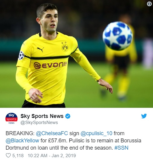 Chelsea FC Signs Christian Pulisic From Borussia Dortmund