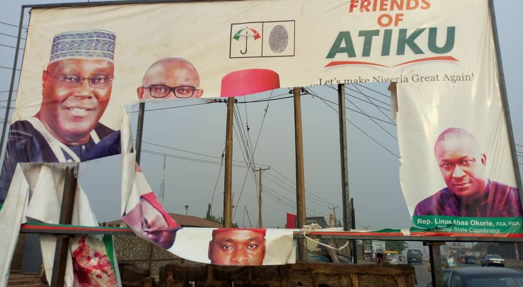 , Shock As Hoodlums Attack Atiku's Campaign Office, Destroy Billboards (Photo), No. 1 Information Arena