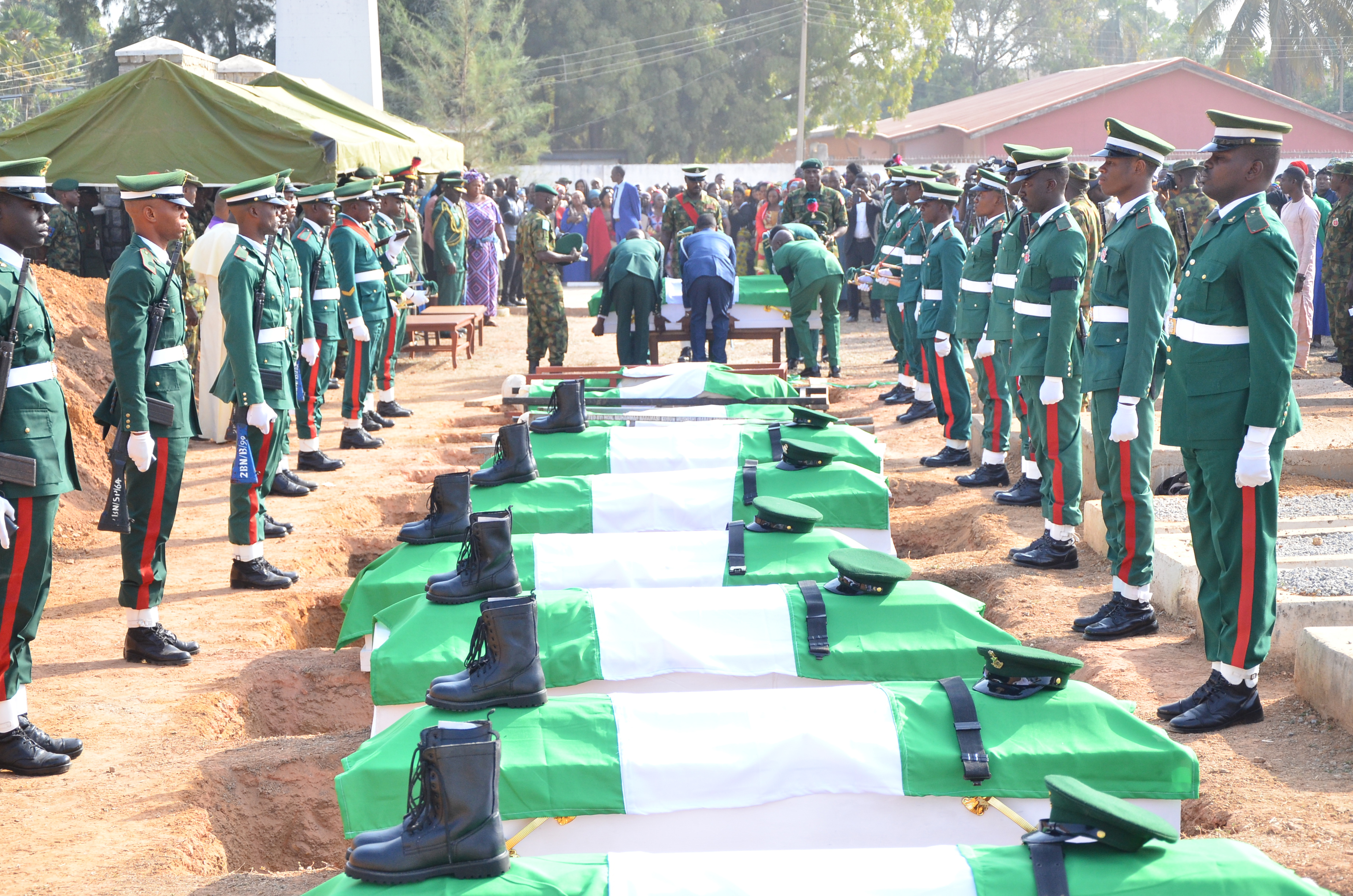 , Photos From The Burial Of The 14 Nigerian Soldiers Killed In Boko Haram Ambush, No. 1 Information Arena
