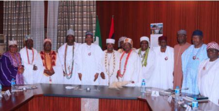 , Photos Of President Buhari Meeting Yoruba Monarchs Inside Aso Rock, No. 1 Information Arena