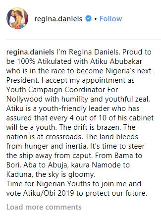 Atiku Gives Appointment To 18-Year Old Star Actress, Regina Daniels