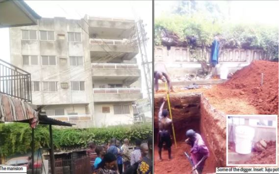 Shock As Bricklayers Dig Out Mysterious Object Buried Under 5-Storey Mansion In Onitsha