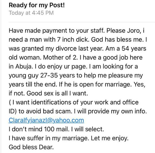 54-year-old Abuja Sugar Mummy Seeks Young Man That Is Good In Bed… See Her Contact