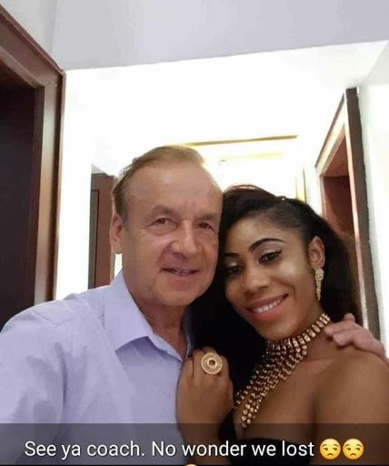 Picture Of Super Eagles Coach, Rohr And Beautiful Lady Has Got People Talking