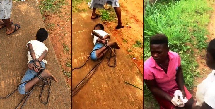 Child Abuse:Mom Ties Up Daughter For Not Sweeping In Anambra State