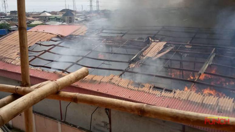 Fire outbreak Warehouse In Lagos (Photos)