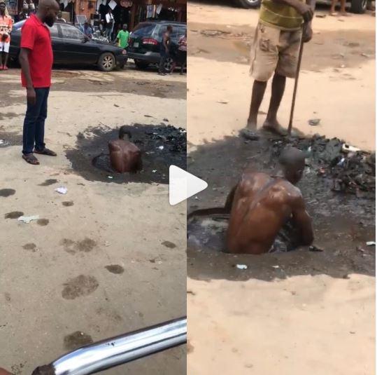 A Nigerian Man Doing A Real Dirty Job (Video)