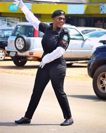 Mercy Johnson Flaunts S*Xy Curves In Police Uniform (Photos)