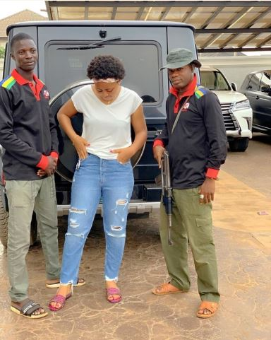 Regina Daniels Poses With Armed Bodyguards Assigned To Her By Husband, Ned
