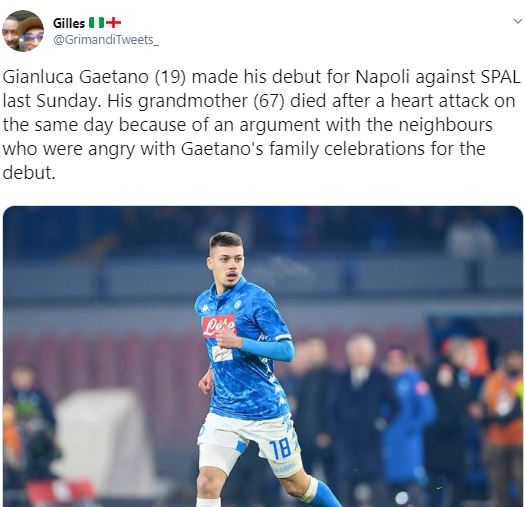 Grandmother Dies While Celebrating Grandson's Debut For Serie A Giants, Napoli