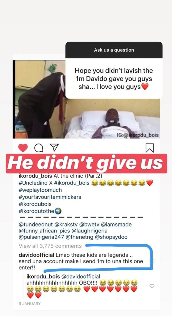 Davido Has Not Given Us N1million He Promised Us 5 Months Ago - Ikorodu Bois