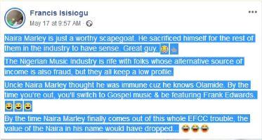 Naira Marley Sacrificed Himself So Artistes Could Have Sense - Man Writes