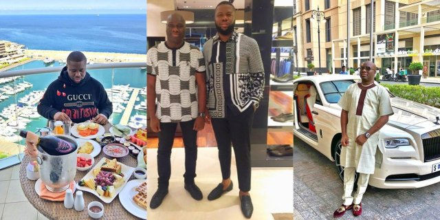 Hushpuppi and Mompha pose for a photograph