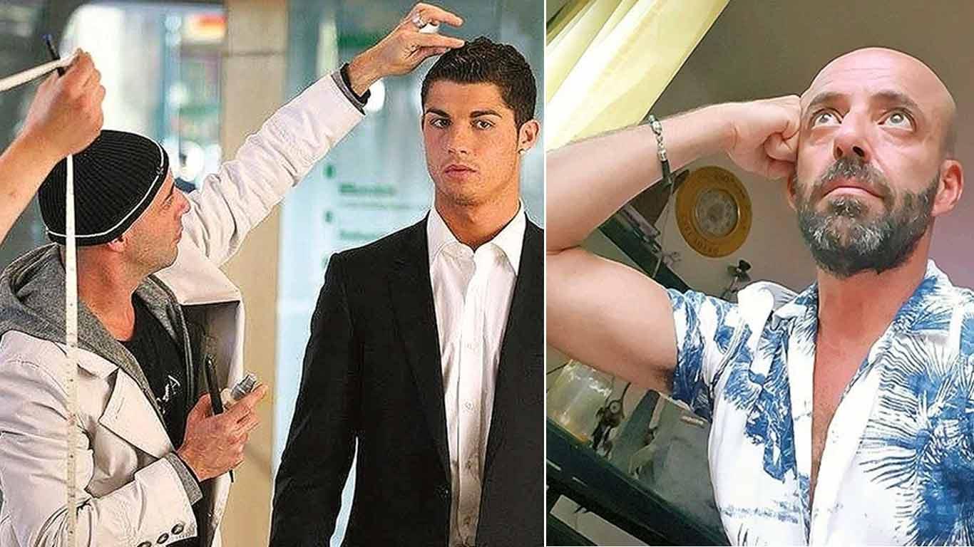 Hairstylist, Ricardo Marques Ferreira attending to Ctristiano Ronaldo