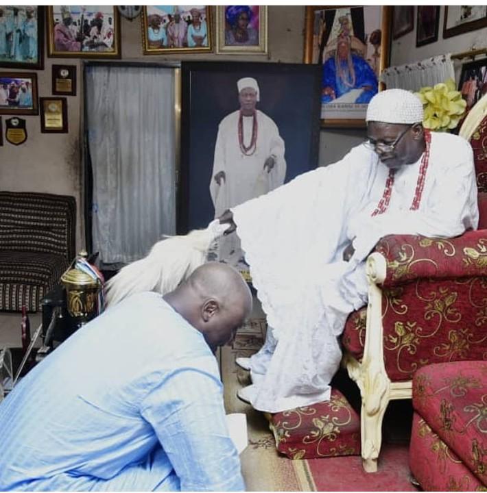 Controversial politician, Dino Melaye bows for King of Kogi