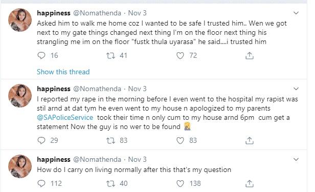 Nomathenda shared the sad story