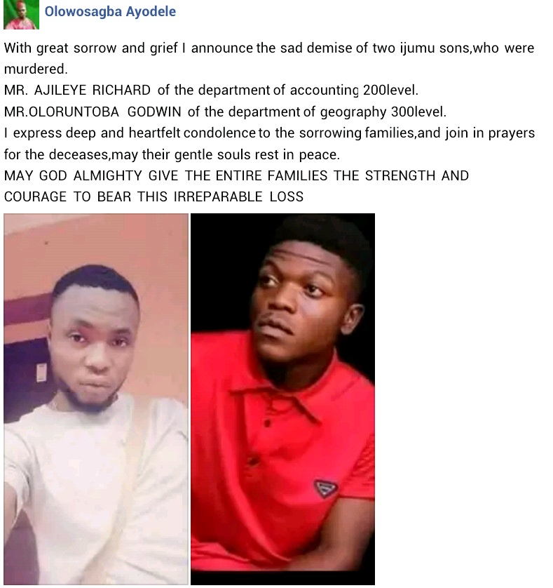 Kogi university students killed by cultists