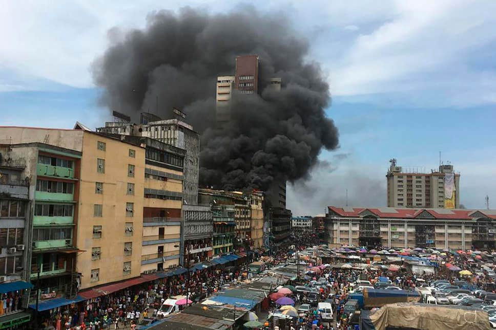 Burning Balogun market in Lagos