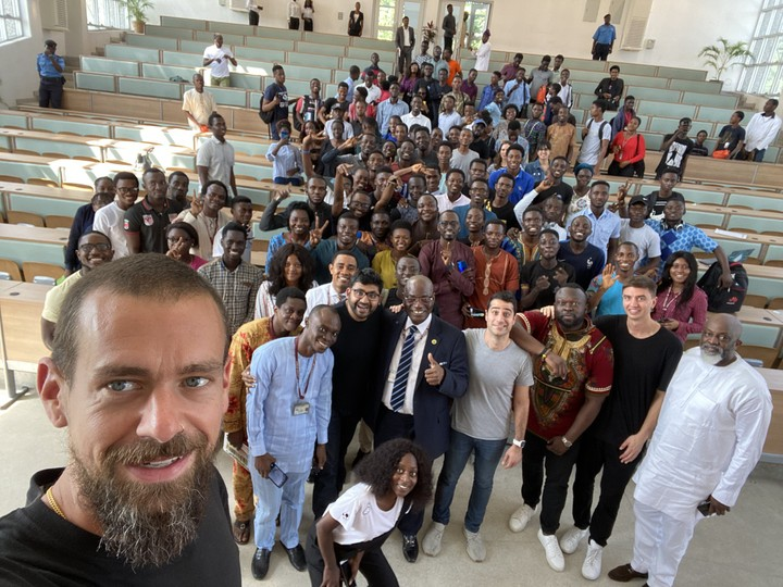 Twitter CEO, Jack Dorsey with UNILAG students and lecturers