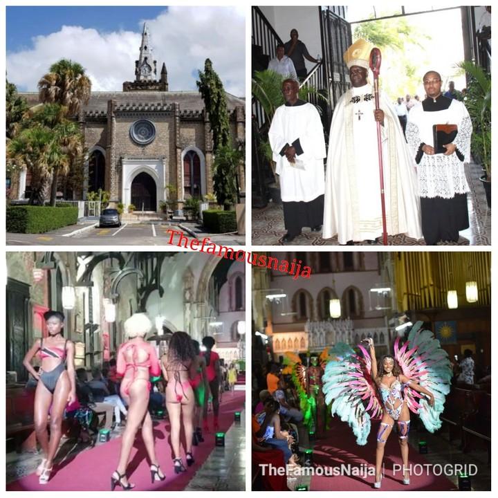 Bikini fashion show held inside a church