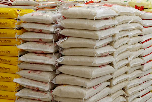 File photo: Bags of rice