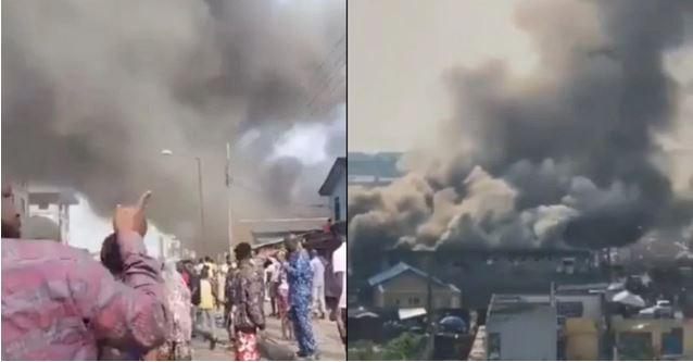 Tejuosho market fire in Yaba