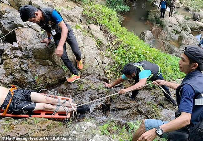 Man falls off waterfall in Thailand while taking selfie
