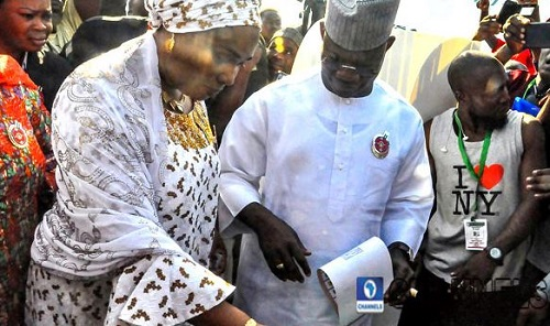 Yahaya Bello and wife cast their ballots in Okene