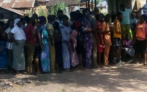 Ayetoro ward 1 unit 4 beside The Apostolic Church, Iluafon where Dino Melaye voted this morning.