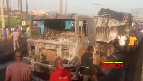 Scene of the Lagos Abeokuta Expressway old toll gate fire on Friday. Photo: Olugbon Saheed