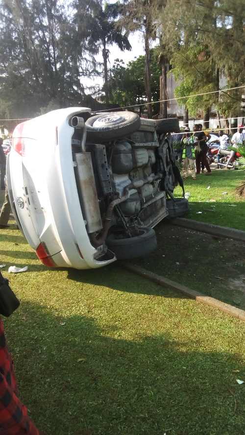 Man escapes death as car loses control and somersaults in FESTAC